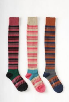 AW1112 RIBBED STRIPE OVER KNEE SOCKS - GUAVA