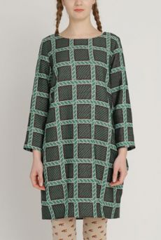 AW1213 ROPEY HERITAGE POCKET MATTER DRESS - EVERGREEN